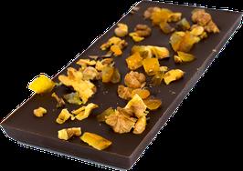 Tablettes de chocolat noir 63% noix orange 100g