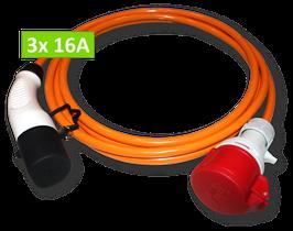 Ladekabel mit Typ 2 Stecker auf CEE Kupplung rot, 16A, 3-phasig