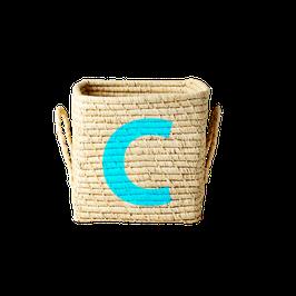 Raffia Korb Quadratisch von RICE mit Buchstabe C