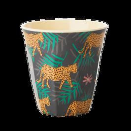 Medium Melamine Cup - Leopard and Leaves Print von RICE