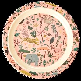 RICE Melamin Kinderteller jungle Mix Print in rosa