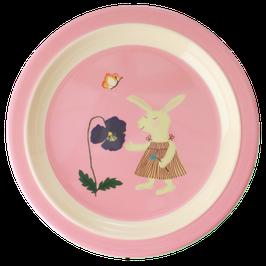 Melamine Kids Plate - Bunny Print von RICE