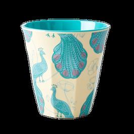 Medium Melamine Cup - Peacock Print von RICE