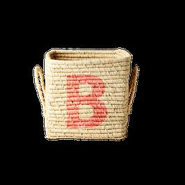 Raffia Korb Quadratisch von RICE mit Buchstabe B