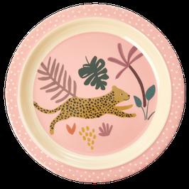 Medium Melamin Kinderteller (flacher Teller) Jungle Print in rosa