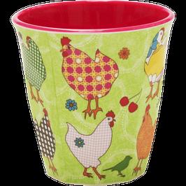 Medium Melamine Cup - Chicken Print von RICE