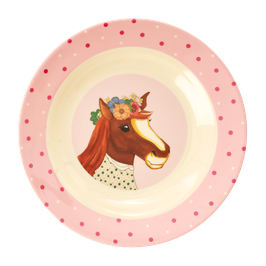 Melamine Kids Plate (tiefer Teller) - Farm Animals Print von RICE