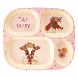 Melamine Kids 4 Room Plate  - Farm Animals Print von RICE
