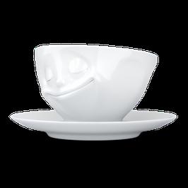 Tasse mit Unterteller 200ml glücklich