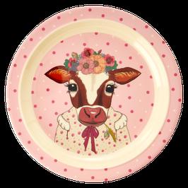 Melamine Kids Plate (flacher Teller) - Farm Animals Print von RICE