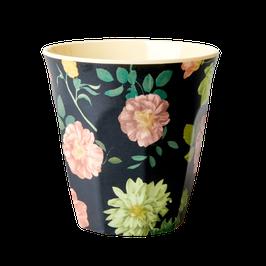 Medium Melamine Cup - Dark Rose Print von RICE
