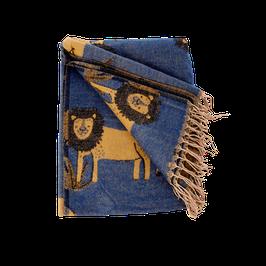RICE Löwen Decke in blau