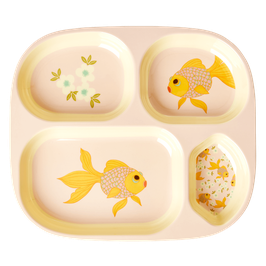 Medium Melamin Kinderteller 4er Einteilung Goldfisch Print