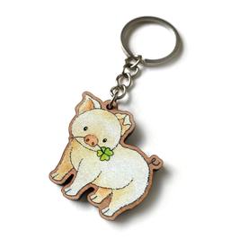 Schlüsselanhänger aus Kirschholz: Glücksschwein