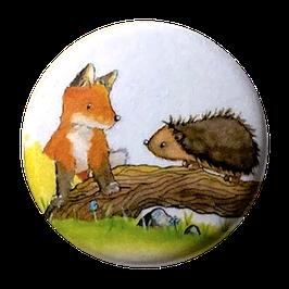 Button: Fuchs und Igel