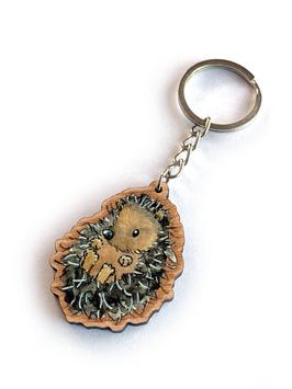 Schlüsselanhänger aus Kirschholz: Igel (liegend)