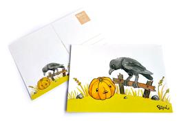 Postkarte: Kleiner Rabe (Halloween 2021)