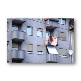 Balkon mit Wäsche