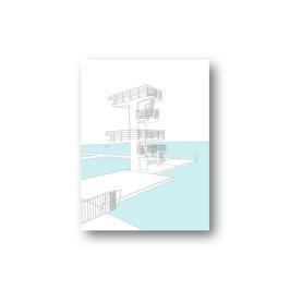 Poster, Sprungturm am Woog, gezeichnet