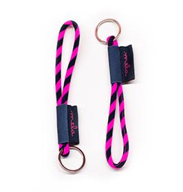 Mela Striped Key Loop - Pink/Navy