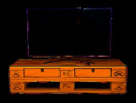 Fernsehtisch aus Paletten | rustikal | mit Rollen | Palettenmöbel | abgeschliffen