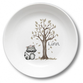 Kids plate with name racoon girl with flower