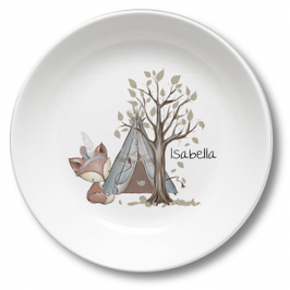Kids plate with name fox with tent Isabella