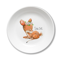 Kids plate with name fawn Suse