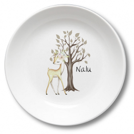 Kids plate with name fawn with flowers Nalu