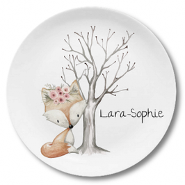 Large plate with name fox with flowers Lara-Sophie