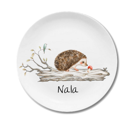 Large plate with name hedgehog Nala