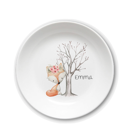 Kids plate with name fox with flowers Emma