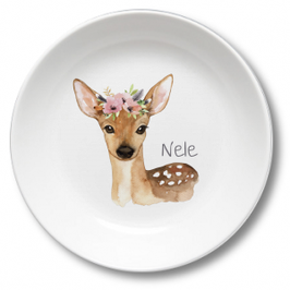 Kids plate with name fawn Nele