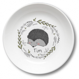 Kids plate with name hedgehog in the forest