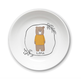 Kids plate with name bear in sweater