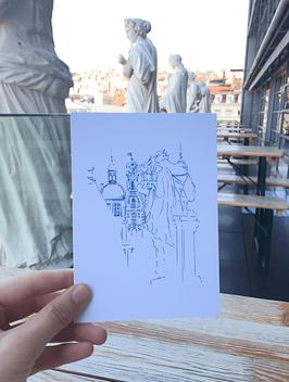 Carte postale Muses Opéra Lyon - Hôtel de Ville