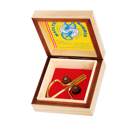 GOLD-PLATED WIMMER JAW HARP IN A NOBLE WOOD CASSETTE HANDMADE
