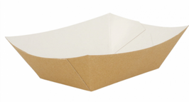 Barchetta Cartoncino Antigrasso AVANA / BIANCO  gr. 120 - 200 pezzi