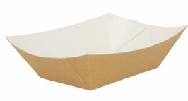 Barchetta Cartoncino Antigrasso AVANA / BIANCO  gr. 2400 - 100 pezzi