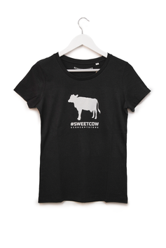 T-SHIRT #SWEET COW - Mucca -  Mod. Donna nero