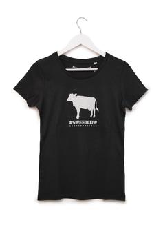 T-SHIRT #SWEET COW - Mucca - Woman - Nero
