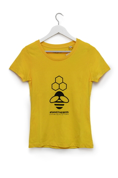 T-SHIRT #SAVE THE BEES - Mod. Donna giallo