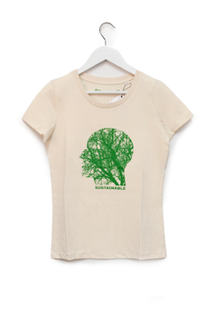 """T-SHIRT """"SUSTAINABLE"""" - Woman - Natural Raw"""