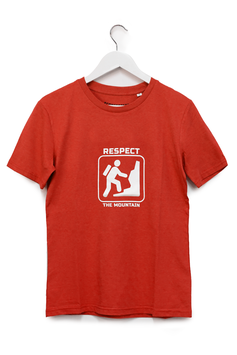 """T-SHIRT """"RESPECT THE MOUNTAIN"""" - Unisex - Rosso"""