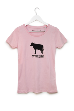 T-SHIRT #SWEET COW - Mucca -  Mod. Donna rosa