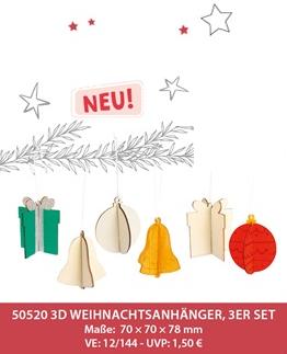 3D Weihnachtsanhänger, 3er Set  12 Stk.