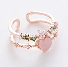 Anello doppio strato cuoricino rosa