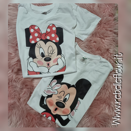 Tshirt coppia Minnie e Topolino kiss