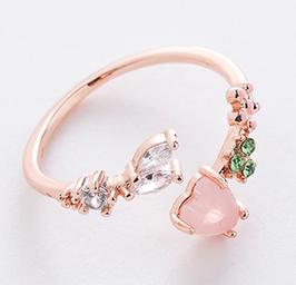 Anello aperto con cuore rosa