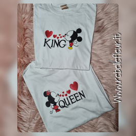Tshirt King and Queen Minnie e topolino COPPIA